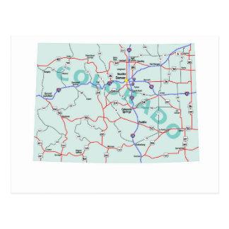 Colorado Interstate Map Postcard