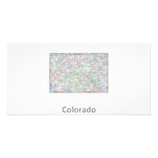 Colorado map photo greeting card