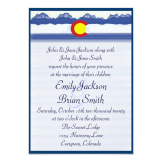"Colorado mountain flag custom wedding invitations 5"" x 7"" invitation card"