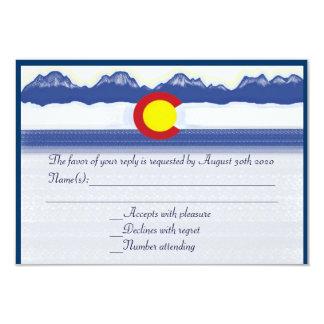 Colorado mountain flag custom wedding RSVP cards 9 Cm X 13 Cm Invitation Card