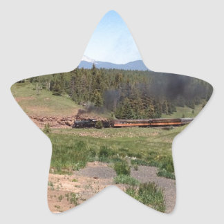 Colorado Mountain Steam Engine Train Star Sticker