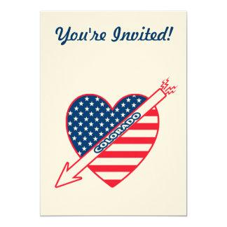 Colorado Patriot Flag Heart 13 Cm X 18 Cm Invitation Card