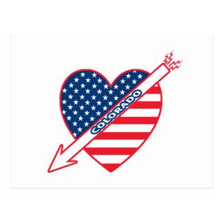 Colorado Patriot Flag Heart Postcard
