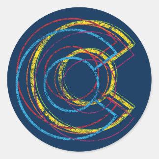 colorado pride blur round sticker