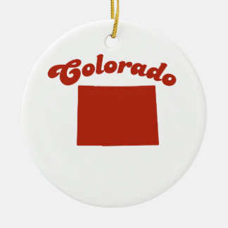 COLORADO Red State Double-Sided Ceramic Round Christmas Ornament