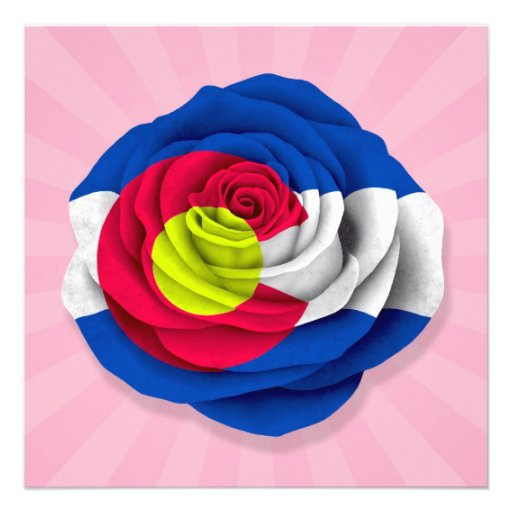 Colorado Rose Flag on Pink Custom Invites