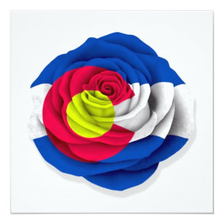 Colorado Rose Flag on White 13 Cm X 13 Cm Square Invitation Card