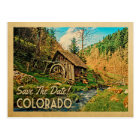 Colorado Save The Date Rustic Cabin Mill Woods Postcard