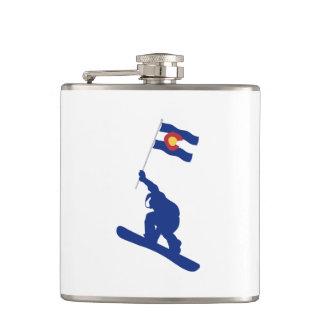 Colorado Snowboard Flag Hip Flask