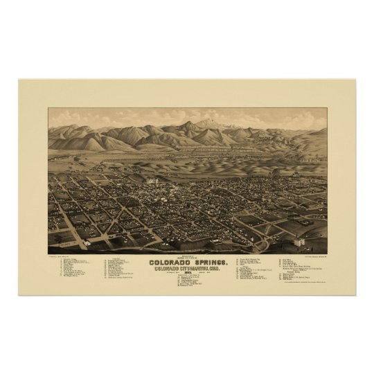 Colorado Springs, CO Panoramic Map - 1882 Poster