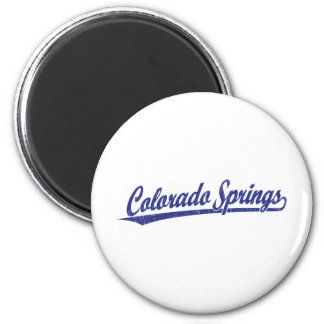 Colorado Springs script logo in blue Magnet