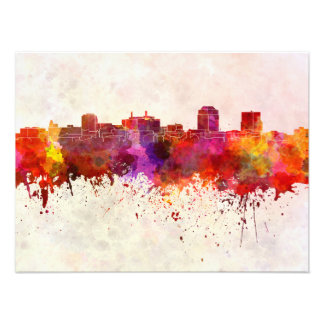 Colorado Springs skyline in watercolor background