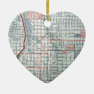 COLORADO SPRINGS Vintage Map Ceramic Heart Decoration