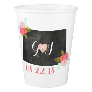 Colorado State Chic Floral Monogram Couples Paper Cup
