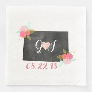 Colorado State Chic Floral Monogram Wedding Paper Napkin