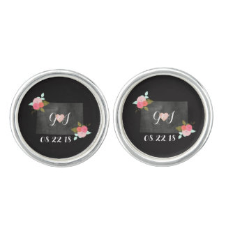 Colorado State Chic Floral Wedding Monogram Cuff Links