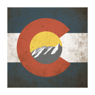 Colorado State Flag Grunge with Mountains Canvas Print