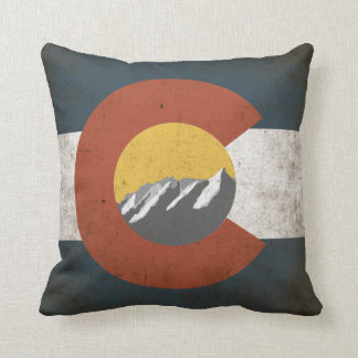 Colorado State Flag, Grunge, with Mountains Cushion