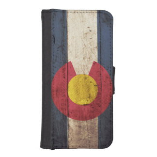 Colorado State Flag on Old Wood Grain iPhone SE/5/5s Wallet Case