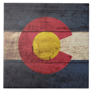 Colorado State Flag on Old Wood Grain Large Square Tile