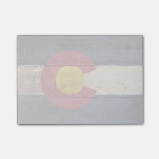 Colorado State Flag on Old Wood Grain Post-it® Notes