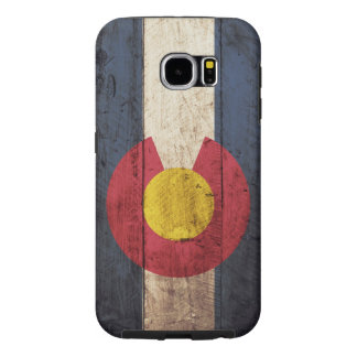 Colorado State Flag on Old Wood Grain Samsung Galaxy S6 Cases