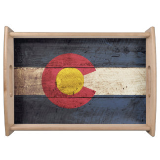 Colorado State Flag on Old Wood Grain Serving Tray