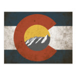 Colorado State Flag PostCard Grunge Mountains
