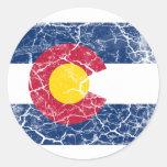 Colorado State Flag Vintage Round Sticker