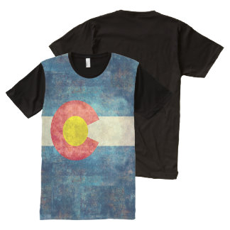 Colorado State flag with vintage retro grungy look All-Over Print T-Shirt