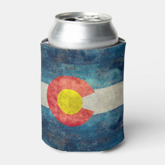 Colorado State flag with vintage retro grungy look Can Cooler