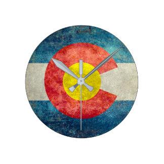 Colorado State flag with vintage retro grungy look Clocks