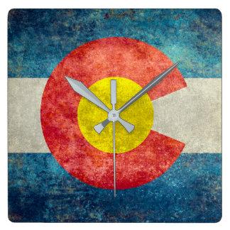 Colorado State flag with vintage retro grungy look Wallclock