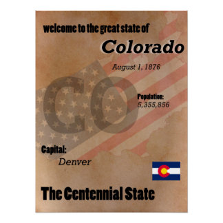 Colorado The Centennial State Classic Poster