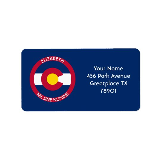 Colorado The Centennial State Personalised Flag Label