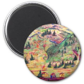 colorado town pastel 6 cm round magnet