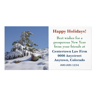Colorado Winter Pine Corporate Christmas Custom Photo Card