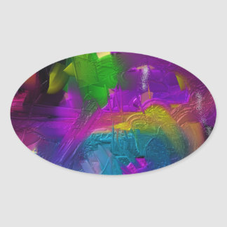 Colorage Digital Painting Design Oval Sticker