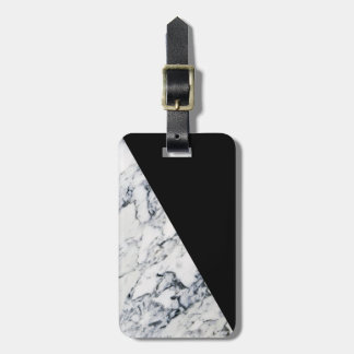 Colorblock Black Marble Pattern Modern Geometric Luggage Tag