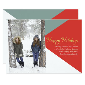 Colorblock Happy Holidays card | Faux Gold
