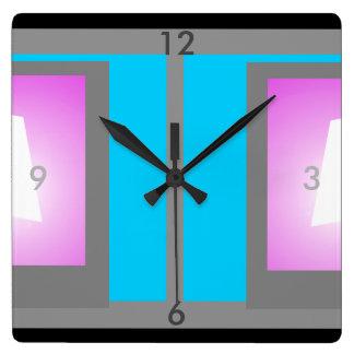 Colorblock Minimalism Grey Turquoise Modern Clock