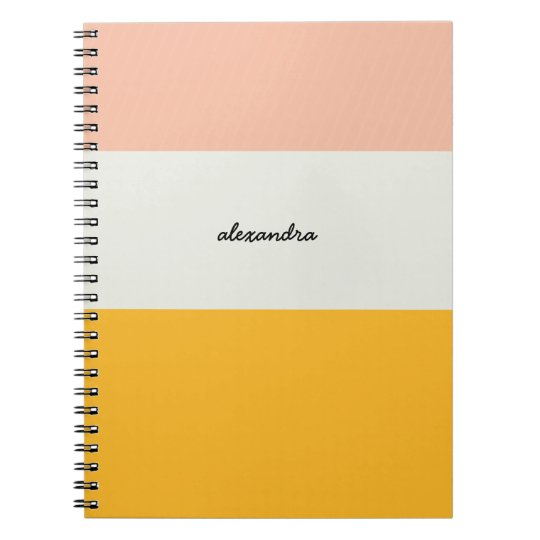 Colorblock Pink Yellow Ivory Spiral Notebook