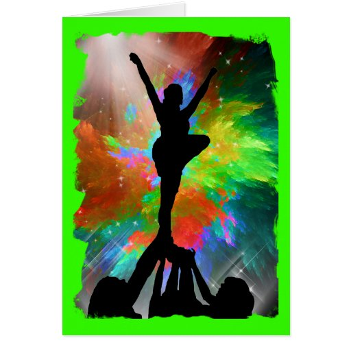 Colorburst Background with Cheerleraders Greeting Card