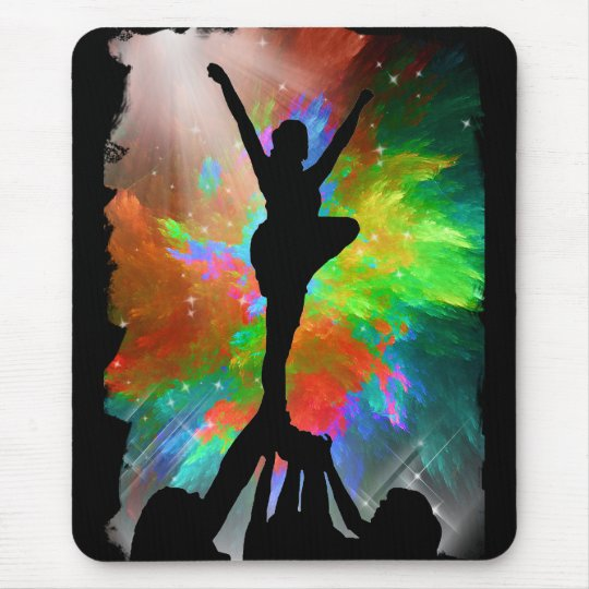 Colorburst Background with Cheerleraders Mouse Pad