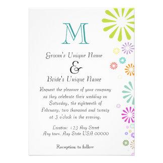 Colorbursts Monogram Wedding Card