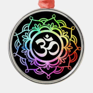 Colored 17 Meditation Silver-Colored Round Decoration