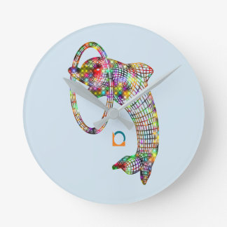Colored 3D Dolphin Wall Clock