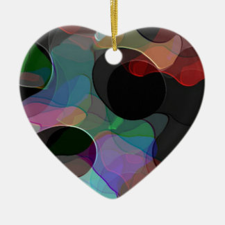 Colored Air Bubbles Ceramic Heart Decoration