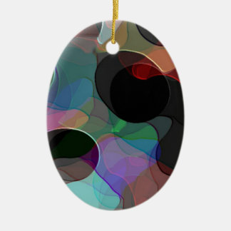 Colored Air Bubbles Ceramic Oval Decoration