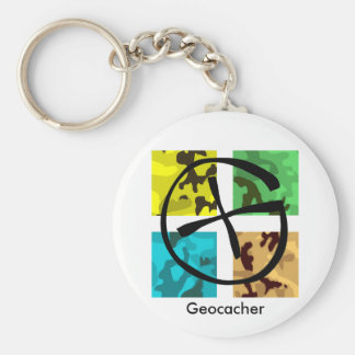 Colored and logoed Geocaching Keychain